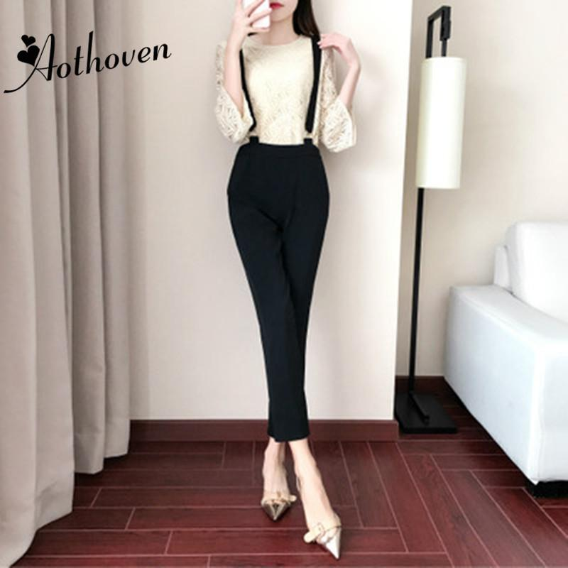 2 Piece Set Casual Women Suit Summer White Three-quarter Sleeve Top and Black Long Suspenders Trousers 2018 Two Piece Set Ladies