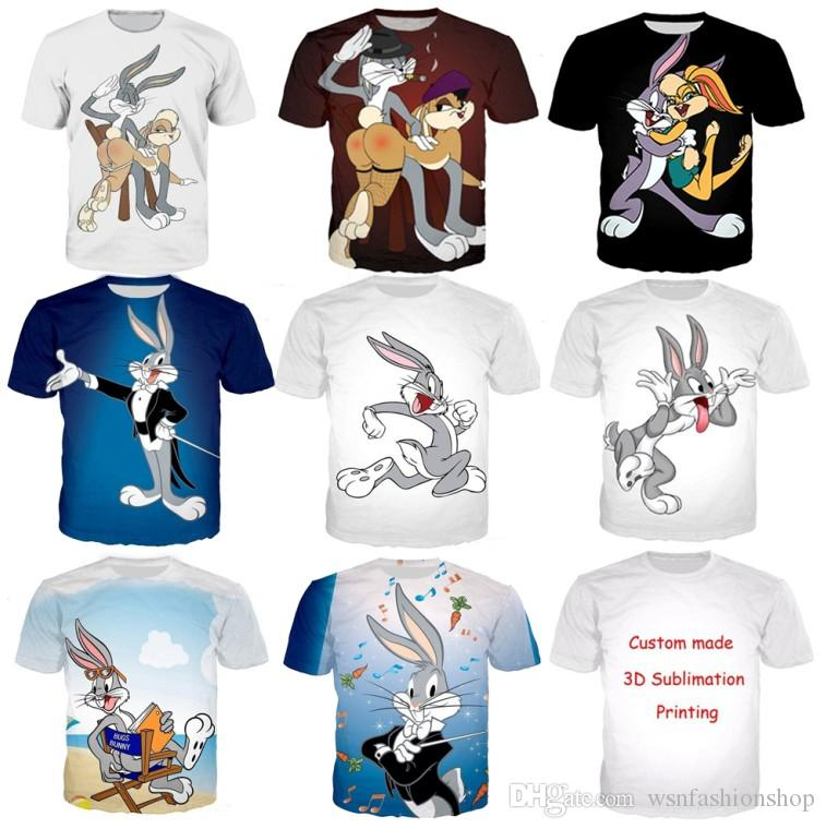 Casual 3D T-Shirts Funny Lola Bugs Bunny Print Short Sleeve Tops Women Men Tee