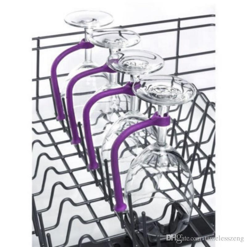 Bulaşık makinesi Kadehi Parantez Silikon Şarap Cam Bulaşık makinesi Kadehi Tutucu Safer Kadeh Koruyucu 4pcs / Set İlginç urgan Kadeh Tasarrufu ayarlama