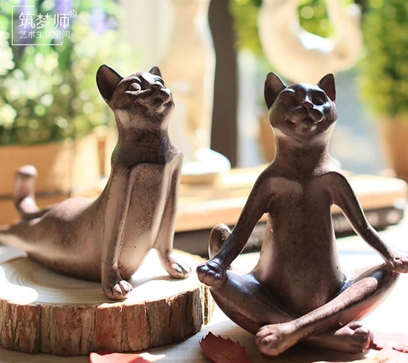Creative résine Yoga chat figurine cru chat chanceux statue home decor artisanat chambre décoration objets en résine animal Sport figurine