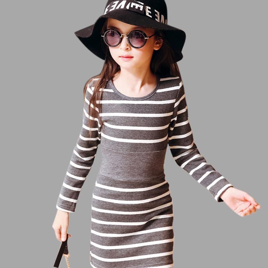 rivenditore online 582f9 e07cd Acquista Ragazze Bambini Vestiti A Maniche Lunghe A Righe In Cotone  Abbigliamento Bambina Abiti Casual A Forma Di Bambina 4 5 6 7 8 9 10 11 12  13 14 ...