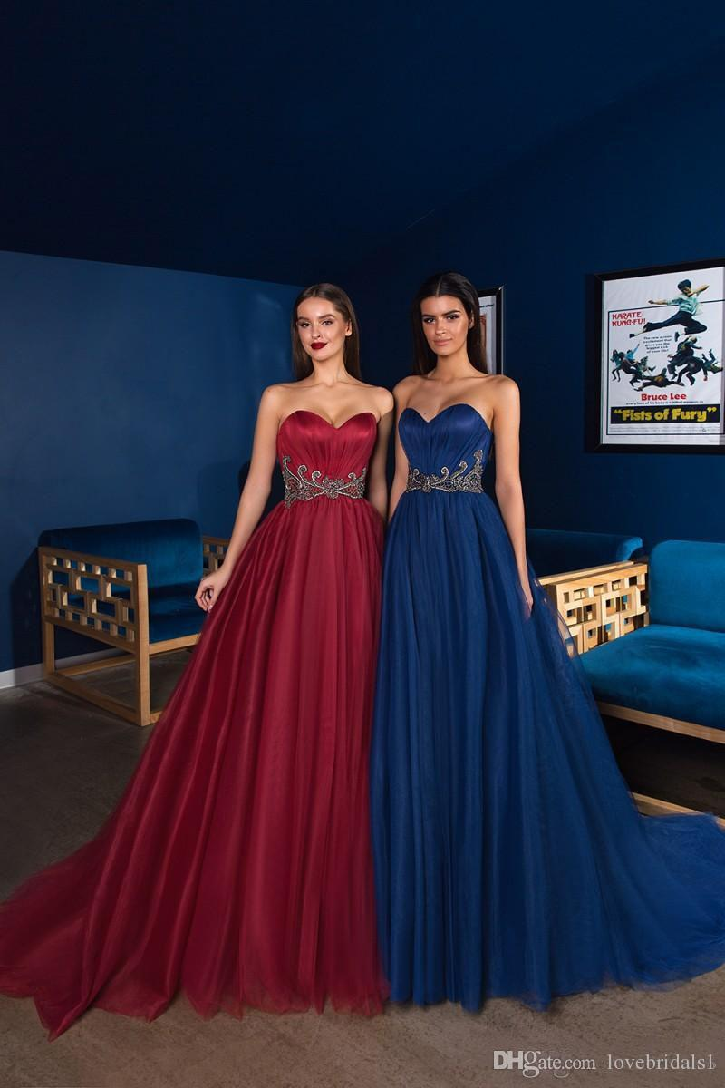 469f37f1e0 ... Sexy Sweetheart Evening Dresses A Line Sash Crystal Beaded Tulle Floor  Length Formal Gowns Backless Sleeveless