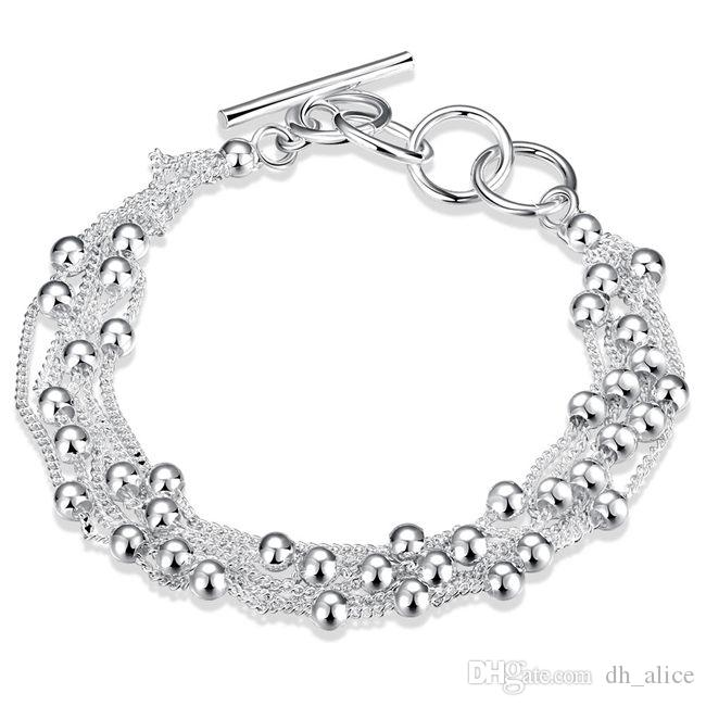 Six wire bead hand chain sterling silver plated bracelet ; New arrival fashion men and women 925 silver bracelet SPB101