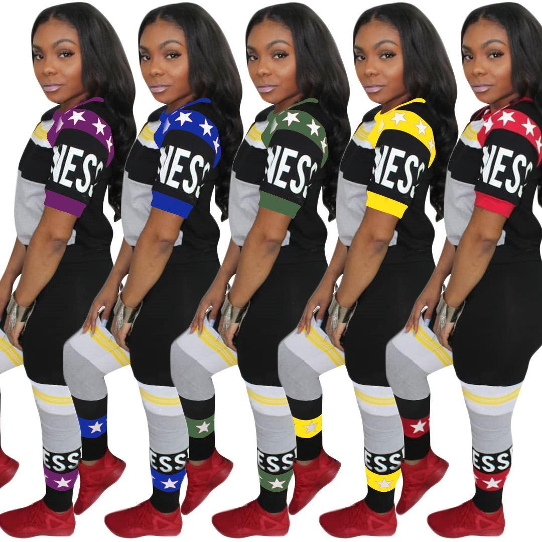 Buyter (TM) Europa e Stati Uniti fashion Slim team set Tuta sportiva multicolor digitale casual stampa multi-colore