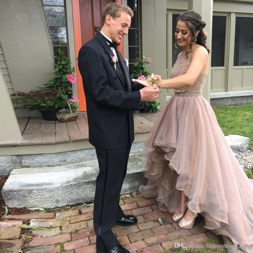 Blush Pink Short Prom Dresses 2018 New Sexy Crystal Beaded Jewel Neck Sleeveless Hi Lo Organza Ruffles Plus Size Custom Party Evening Gowns