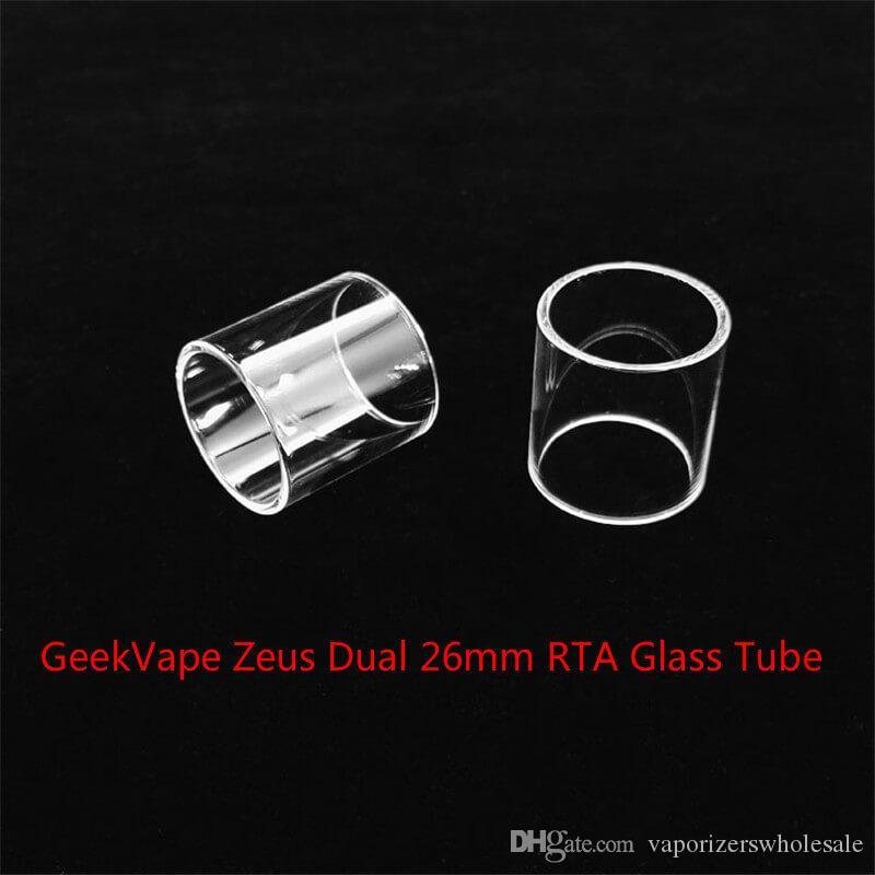 Venta al por mayor de GeekVape Zeus Dual 26mm RTA Reemplazo del tubo de vidrio con DHL Free comprar barato GeekVape Zeus Dual 26mm RTA bombilla fatboy Glass tube