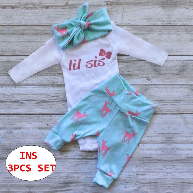 Stampa infantile lettera 3pcs INS INS bambini manica lunga pagliaccetto + pant + fascia Outfit Bambini autunno Set di abbigliamento