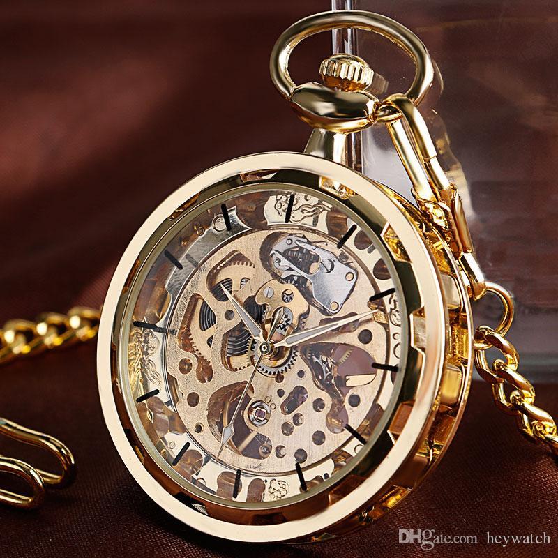 Luxo Transparente Rosto Aberto Esqueleto Mecânico Relógio de Bolso Mão-liquidação Cool Relógios de Ouro Cadeia Pingente de Relógio Do Vintage para Mulheres Homens Gif