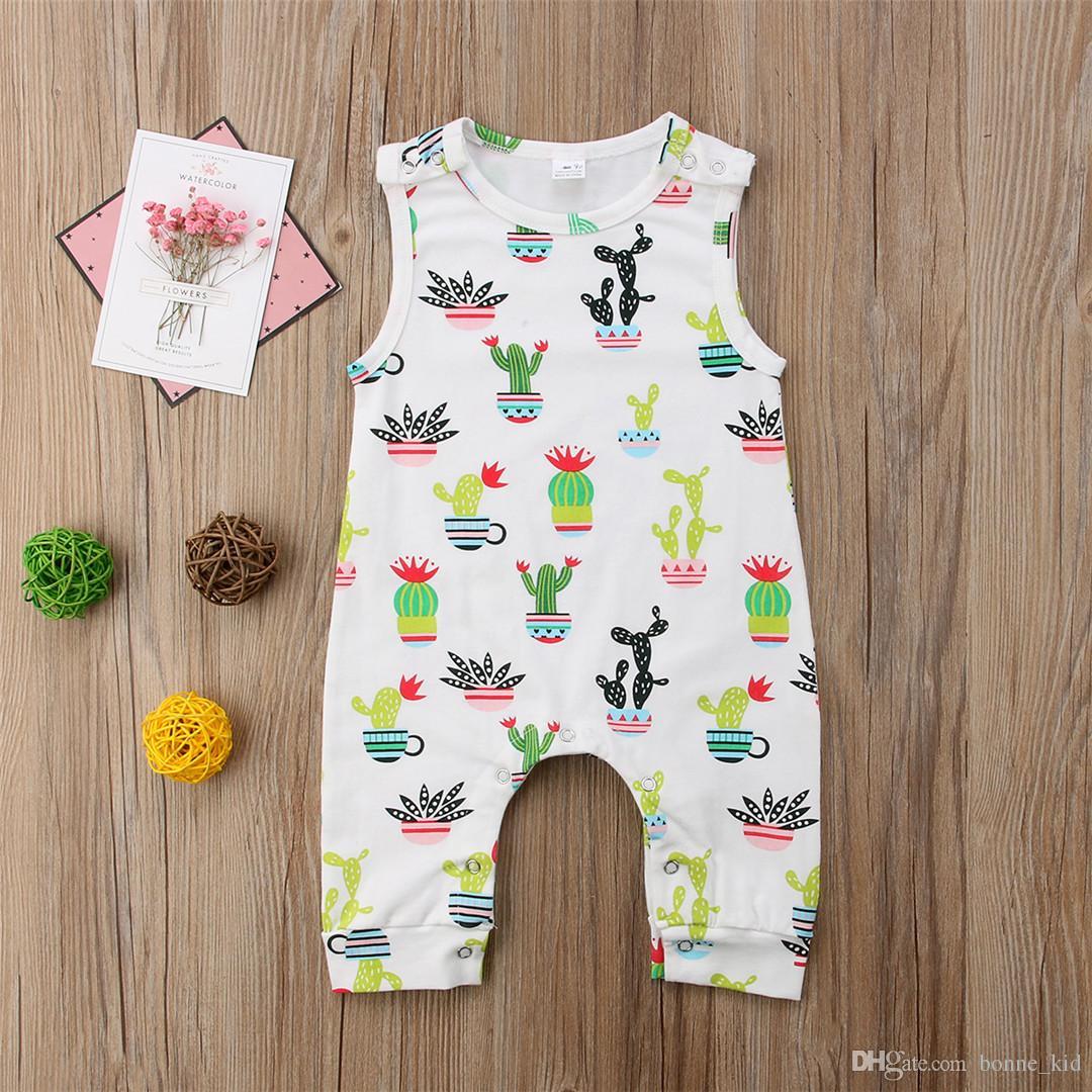Baby Jungen Mädchen Cartoon Kaktus Overall Sleeveless Baumwollspielanzug Schöne Neugeborenes Baby Onesies Outfit Bodysuit Boutique Kid Kleidung set