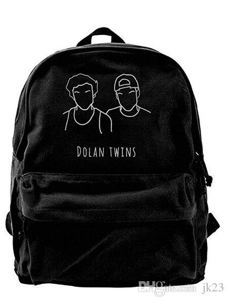Dolan Twins Canvas Shoulder Backpack Awesome Backpack For Men & Women Teens College Travel Daypack Black