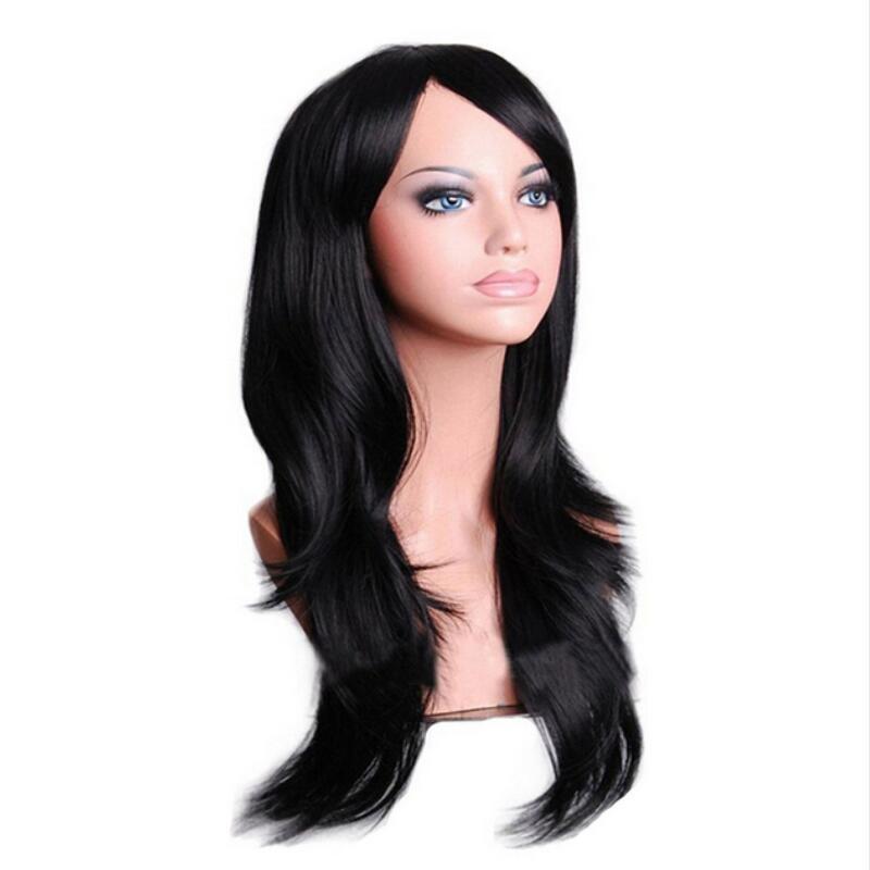 긴 물결 모양의 코스프레 가발 빨간색 녹색 푸른 핑크 블랙 블루 슬리버 그레이 금발 갈색 70 cm 합성 머리 가발 무료 배송