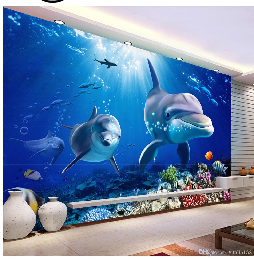 Kundenspezifische Einzelhandel 3D Dolphins Underwater World Wall Paare Delfine schwimmen im Meer der kleinen Fische