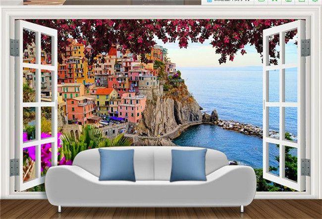 custom 3d murals wallpaper balcony landscape Non-woven wallpaper for walls 3d for living room 3d stereoscopic wallpaper