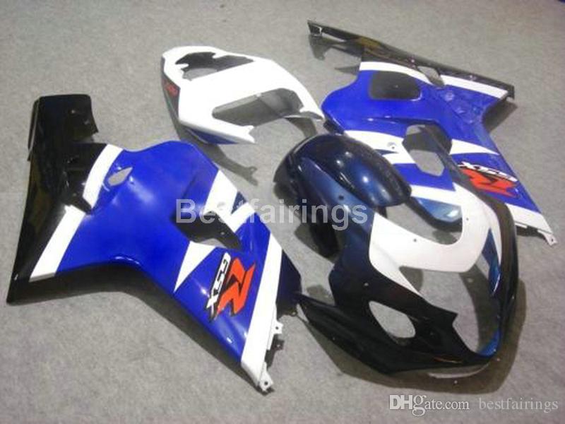 Бесплатный пользовательский комплект обтекателя для SUZUKI GSXR600 GSXR750 2004 2005 синий белый черный GSXR 600 750 K4 K5 обтекатели FF50