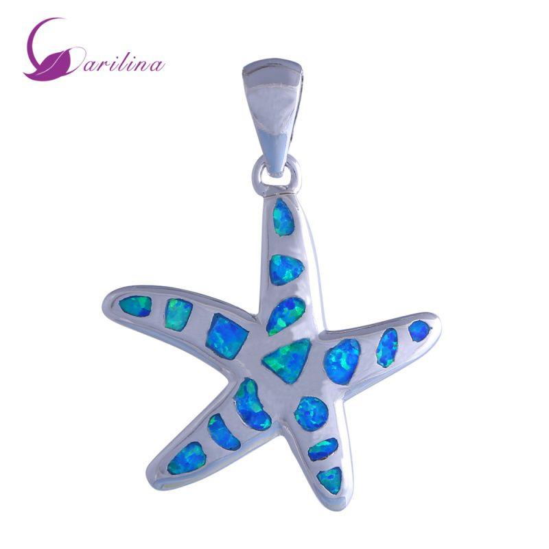 Nova Declaração de Jóias estrela do mar 925 sterling silver Moda Jóias Blue Fire Opal pingente para as mulheres P192