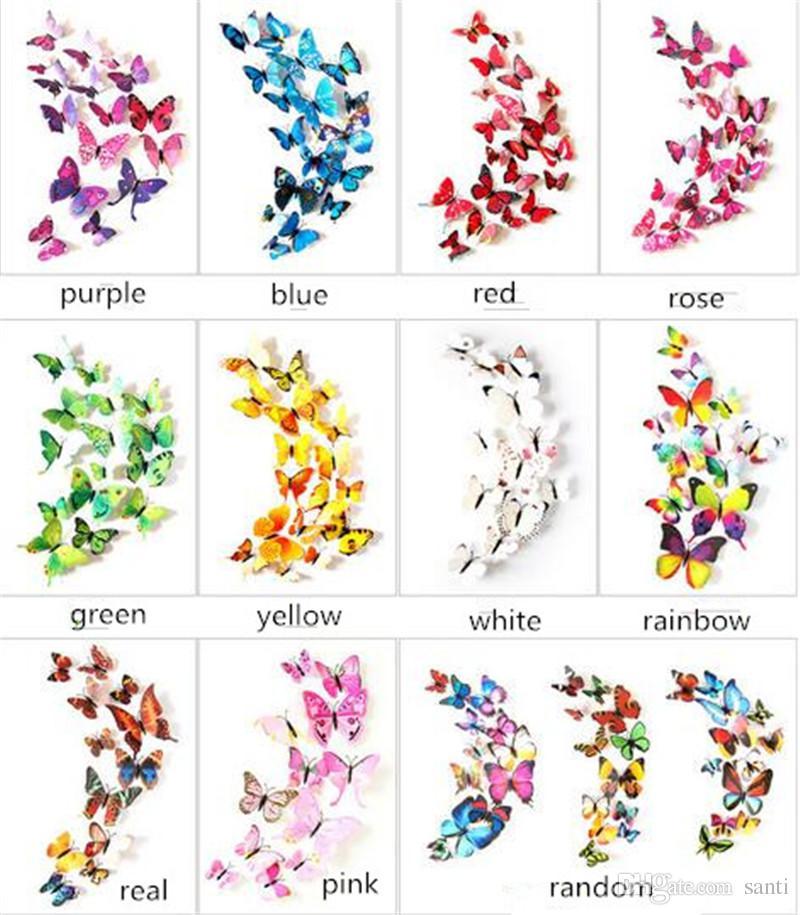 12 stks Set 3D Dubbellaags Butterfly Muursticker aan de Muur voor Home Decor DIY Vlinders Koelkast Magneet Stickers Kamerdecoratie