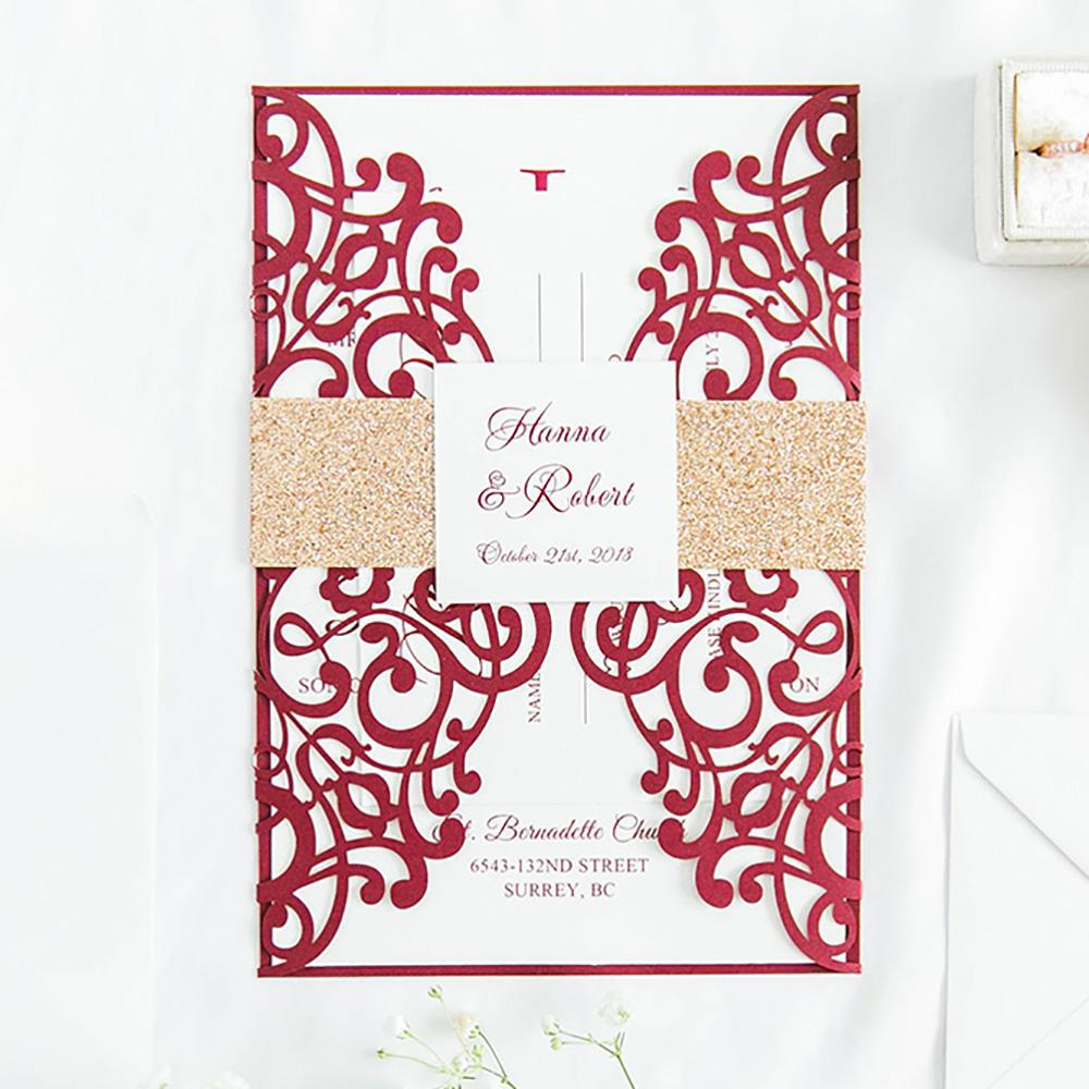50 Set Design Fold Flower Lace Pattern Gold Flash Band Invitations Cards With Envelope Wedding Greeting Card Birthday Convites