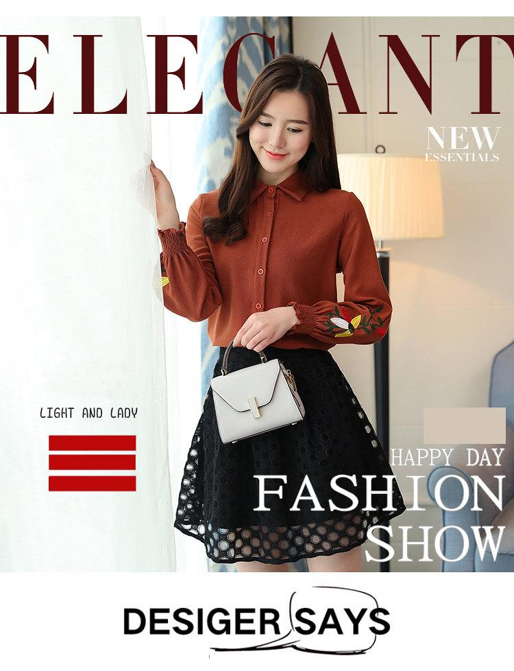 Women\`s Autumn Embroidery Tops 2019 Casual Long Sleeve Female Blouses Work Wear Corduroy Shirts Elegant Office Blusa Mujer Camisas (1)