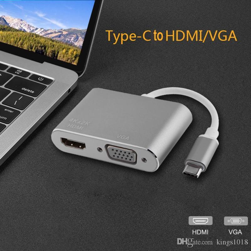 new hot Type-C USB 3.1 to HDMI 4K 1080P VGA Adapter Converter Cable USB Hub for MacBook / ChromeBook / Lenovo Yoga /Samsung notebook