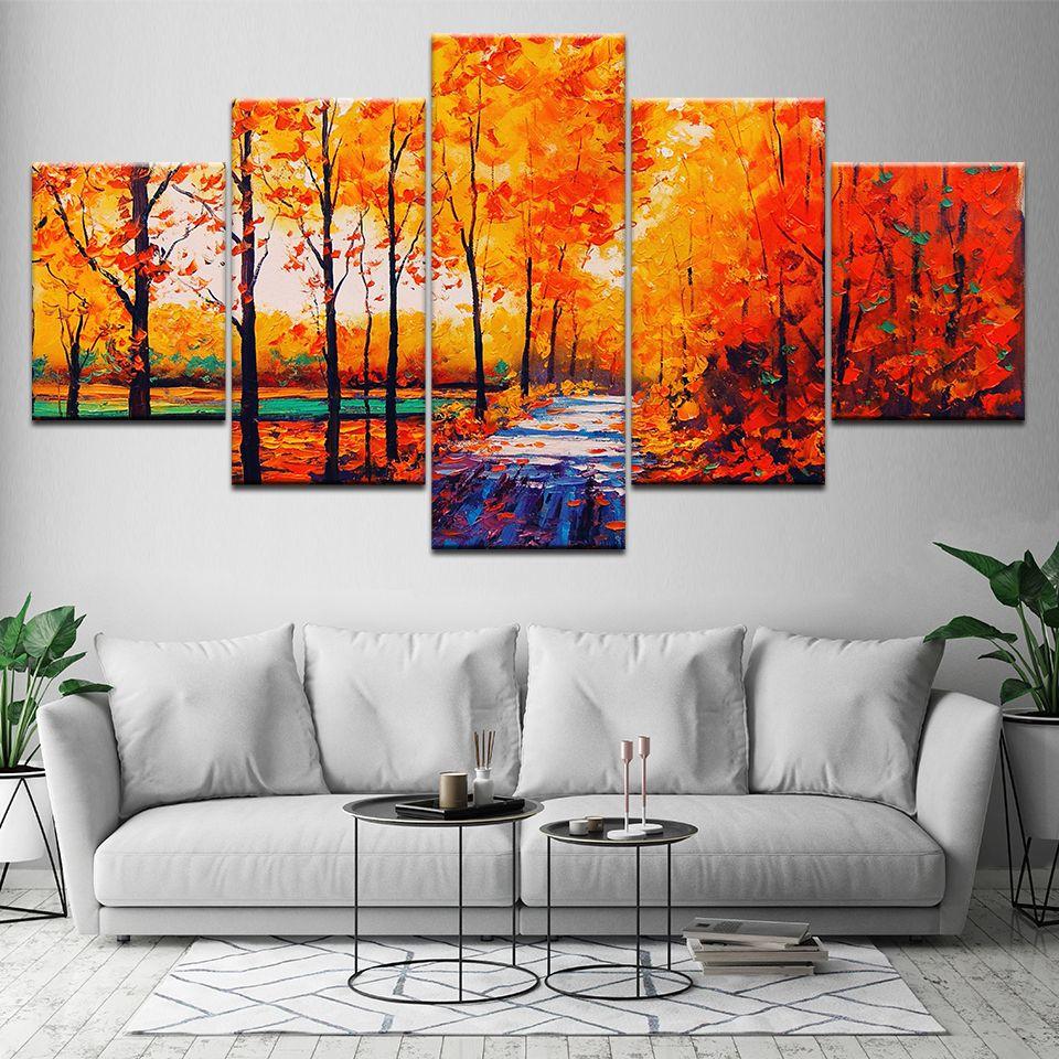 Soyut Sanat Posteri Dekor Modern Oturma Odası Duvar 5 Parça Kırmızı Ağaç Manzarası Modüler Tuval Resimlerinde HD Baskılar Resim Çerçevesi