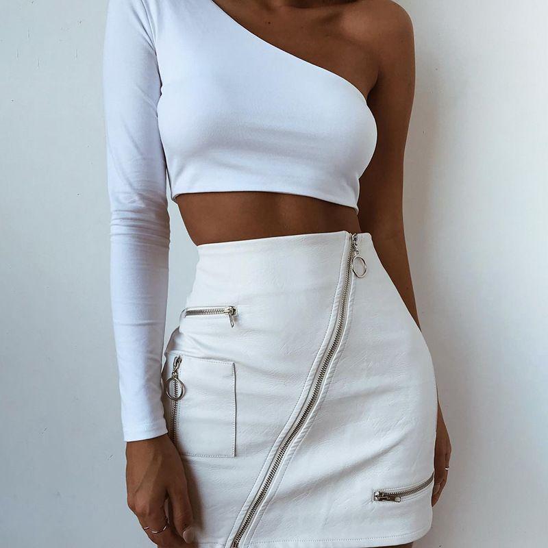 2018111207 Fashion Chic gonna in ecopelle bianca gonna obliqua con cerniera estiva 2018 gonna aderente a vita alta mini fondo