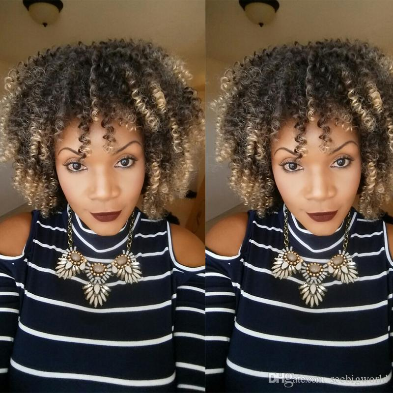 Vente chaude brésilienne de Cheveux Africains Americaine crépue Perruque Frisée Simulation de Cheveux Humains afro crépue Bouclée Complète Perruques