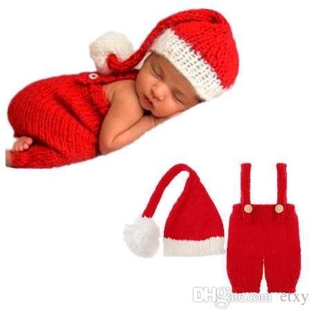 2 pçs / set Bonitos Recém-nascidos Do Bebê Tricô Fotografia Adereços Macacões Chapéu Festival Terno Acessórios de Fotografia New born