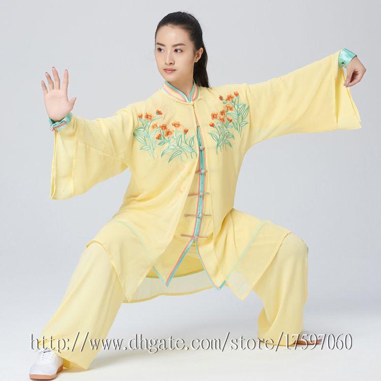 Chinese Wushu uniform Kungfu clothes Tai chi garment Martial arts suit Embroidery taichiquan costume for men women girl boy kids adults