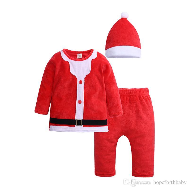 크리스마스 겨울 어린이 의류 세트 소년 소녀 빨간 크리스마스 정장 탑 바지 모자 3 조각 아기 의류 세트