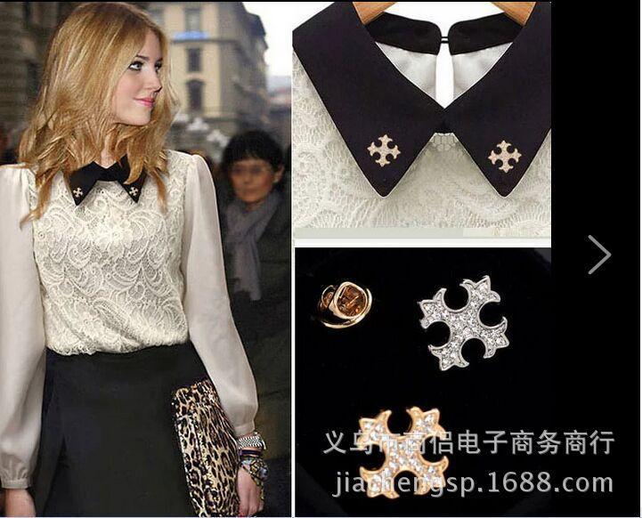 South Korea high-end retro cross brooch mini shirt collar button collar pin men's and women's sweater suit accessories