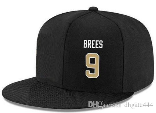 Cappelli di snapback Personalizzato qualsiasi numero di nome giocatore n. 9 Brees Saints Personalizzati TUTTI I tappi di squadra Accetta logo o nome di ricamo piatto personalizzato