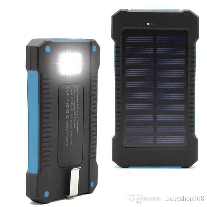 Banco de la energía solar Nuevo Banco de alimentación dual del USB con la luz real 10000mAh impermeable powerbank bateria cargador portátil externa para el iPhone x 8