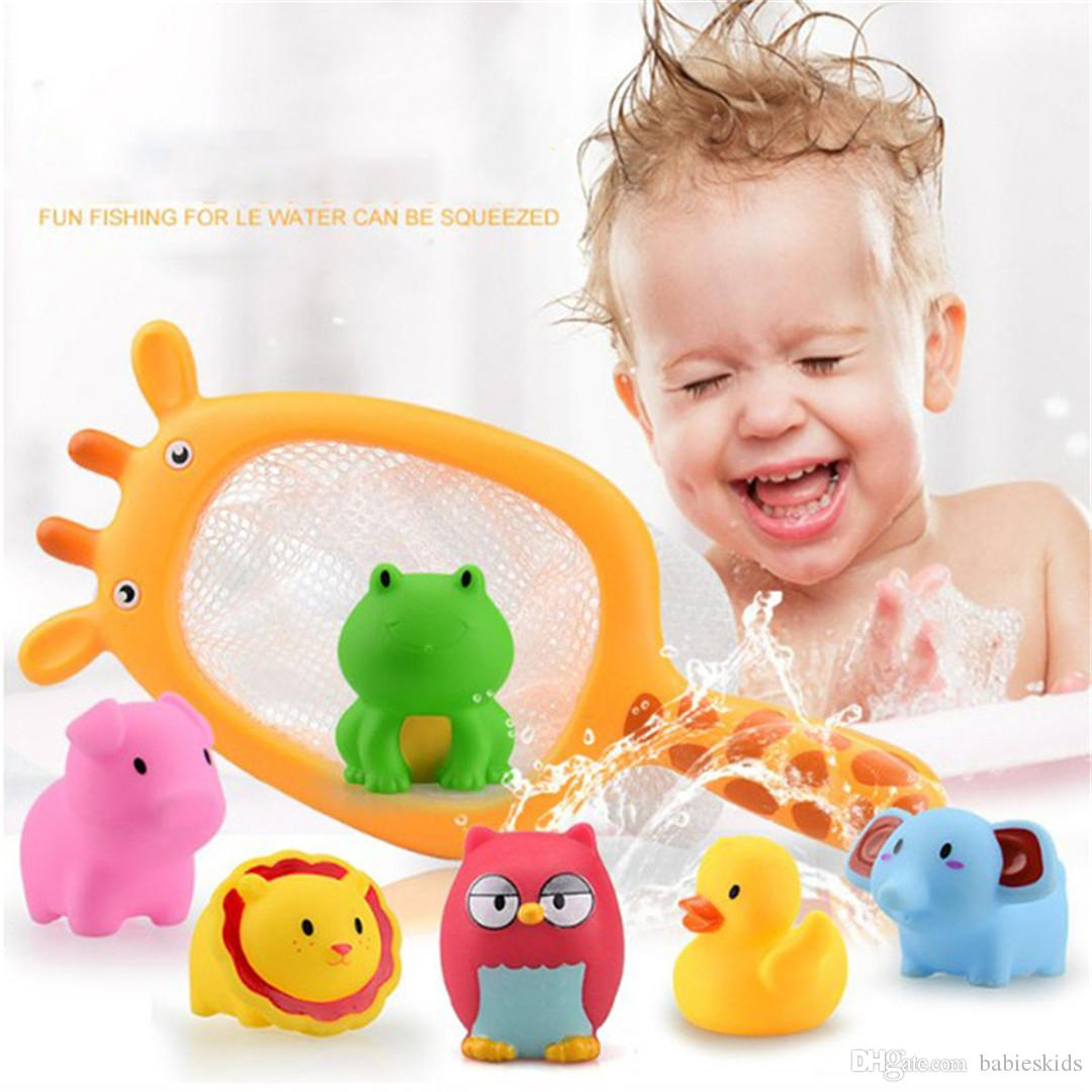 New Creative Fishing Toys Sets Network Bag Pick up Duck&Fish Kids Toy Swimming Classes Play Bath Doll Water Spray Bath Toys
