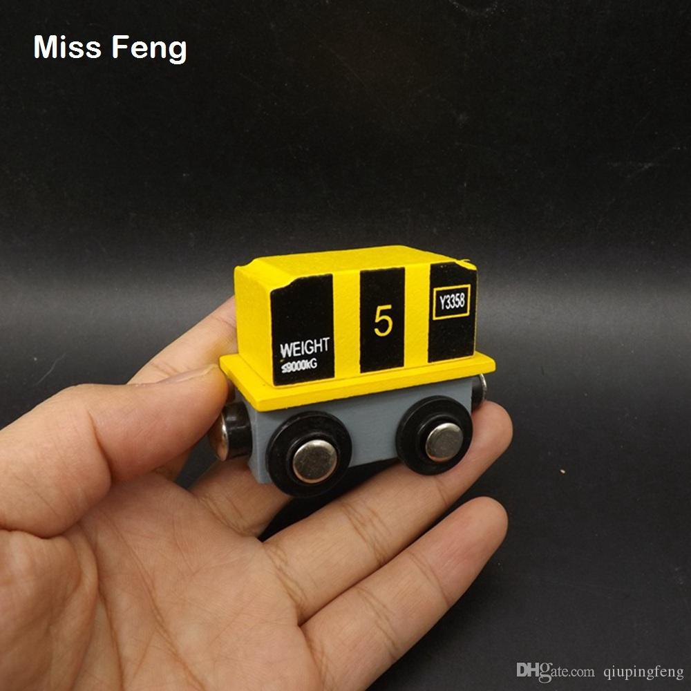 Contenedor amarillo Vehículo de tren magnético de madera Juguetes educativos para niños Aprendizaje temprano Juguete educativo Regalo