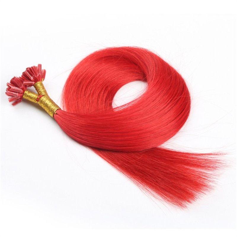 Elibess stick I tip Extensiones de cabello humano 1G Strand Brasileña onda recta Keratina extensión del cabello, 8 colores para la opción