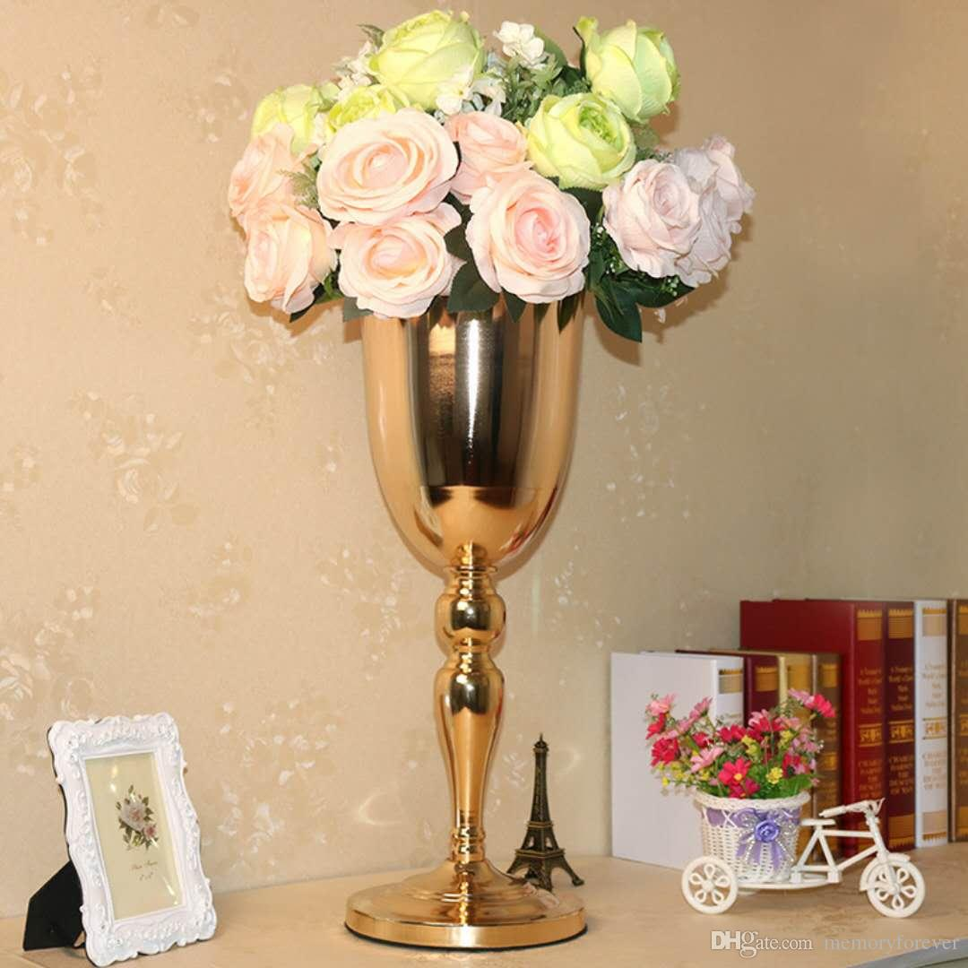 55cm 21 6 Inch Tall Gold Metal Vases Wedding Decoration Party Road Lead Table Centerpiece Wedding Artificial Flower Vase Wedding Decoration Supplies Wholesale Wedding Decorations Supplies From Memoryforever 38 65 Dhgate Com