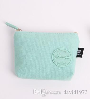 2018 Nouvelle version coréenne simple pièce fraîche pièce de monnaie féminine mini sac de monnaie petit portefeuille femme fermeture à glissière courte toile de poche argent toile D1807