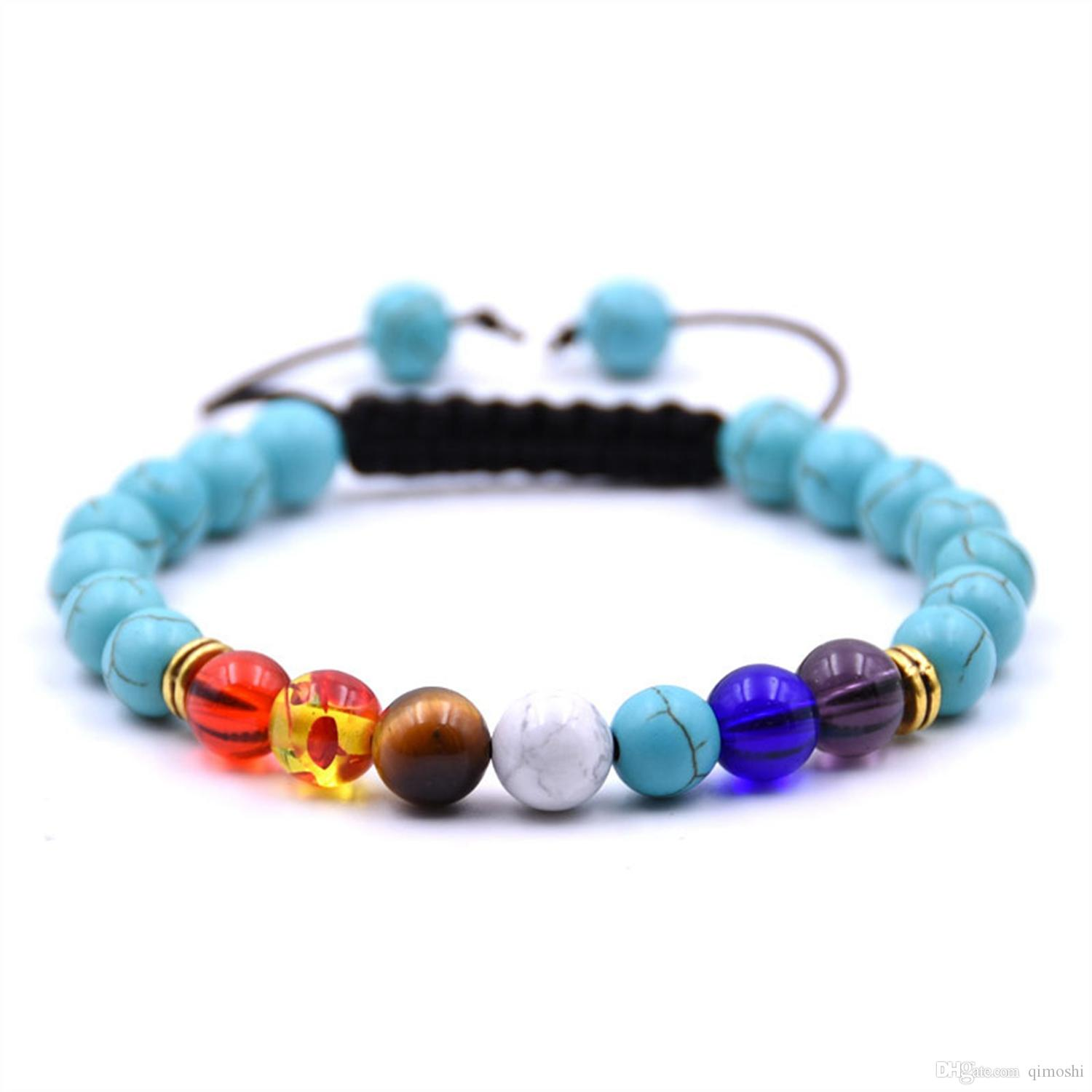 Factory sale handmade lucky turquoise woven 7 chakra adjustable natural stone bracelet with 8mm round beads for unisex wholesale