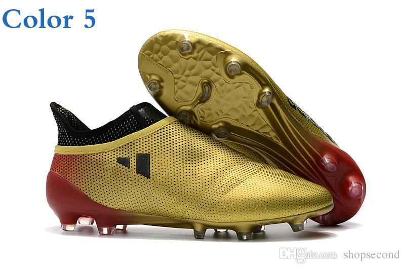 Großhandel Männer Fußballschuhe Stollen X 17.1 Life Farbe Purechaos Fg Champagner Gold Im Freien Fußballschuhe Hohe Qualität X16.1 Purechaos