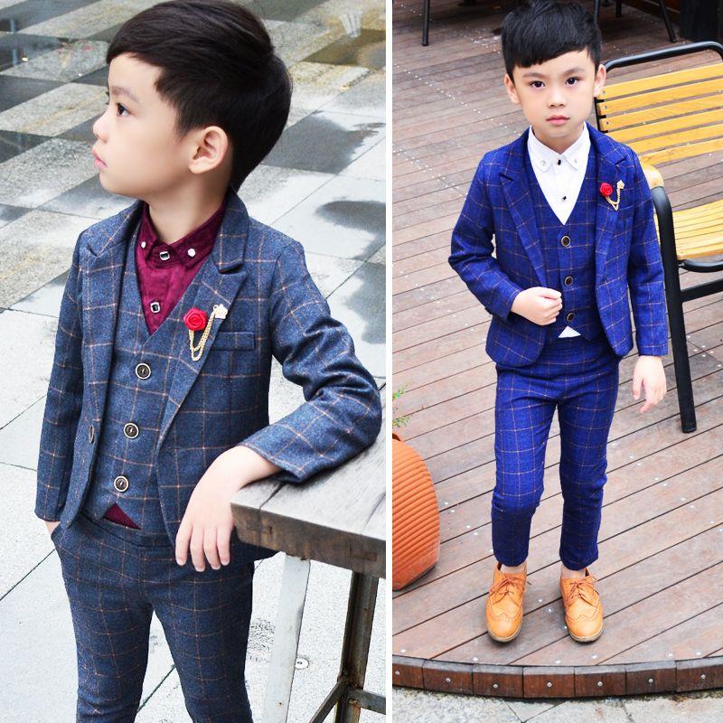 2018 новый малыш пиджак костюмы 2-12 лет маленький мальчик куртка рубашка жилет брюки 4 части тонкий детский костюм свадебный цветок мальчик платье