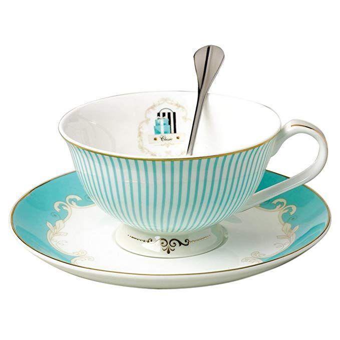 Vintage Royal Bone China Tea Cups Coffee Milk Taza de té y Platillo y Cuchara Sets Blue Boxed Set Gift 7-Oz
