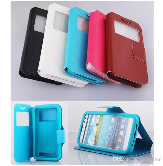 Universal Flip Case Window PU Funda de billetera de cuero CUBIERTA para 4.0 4.3 4.8 5 5.5 pulgadas para iPhone X 8 Samsung S9 plus