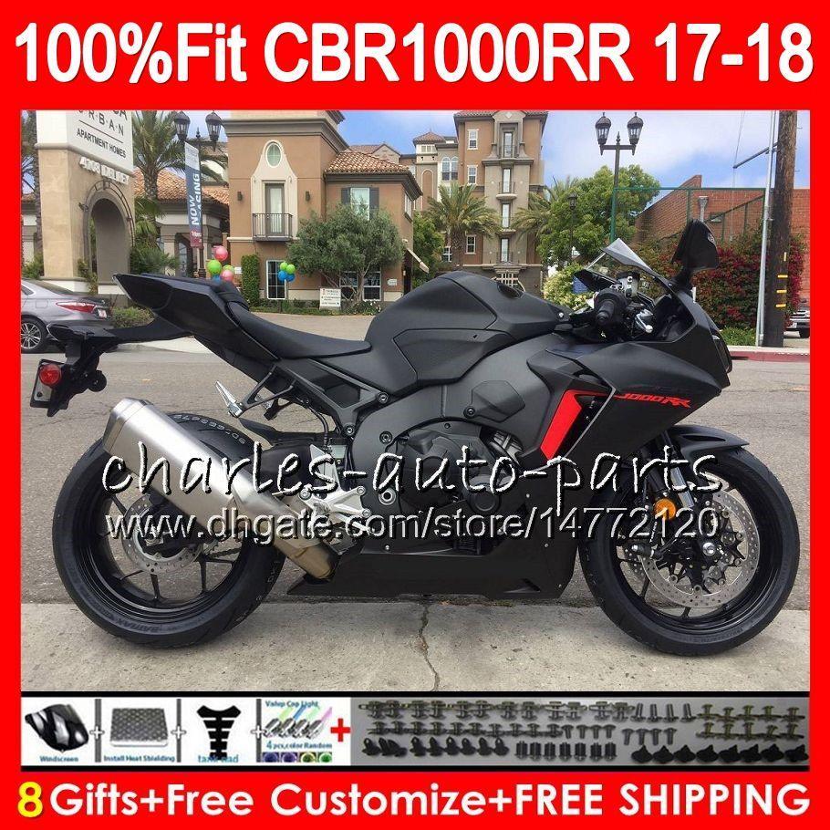 Injektionskropp + tank för Honda CBR 1000 RR CBR1000RR 17 18 112HM.0 CBR 1000RR CBR-1000RR CBR1000R CBR1000 RR 2017 2018 Fairing Matte Black