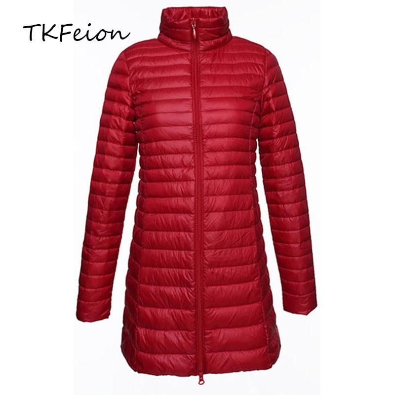 Female Duck Down Jackets 2018 Autumn Women Slim Outwear Long Style Stand Neck Ladies Fashion Lightweight Coats Plus Size 3XL 4XL