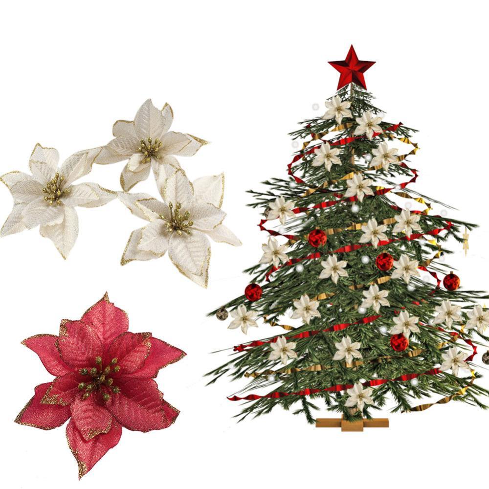 NEUER Entwurf 50pcs Funkeln Poinsettia Weihnachtsbaum Ornamente hängende Verzierung Tropfen Anhänger Christbaumschmuck Für Privatanwender