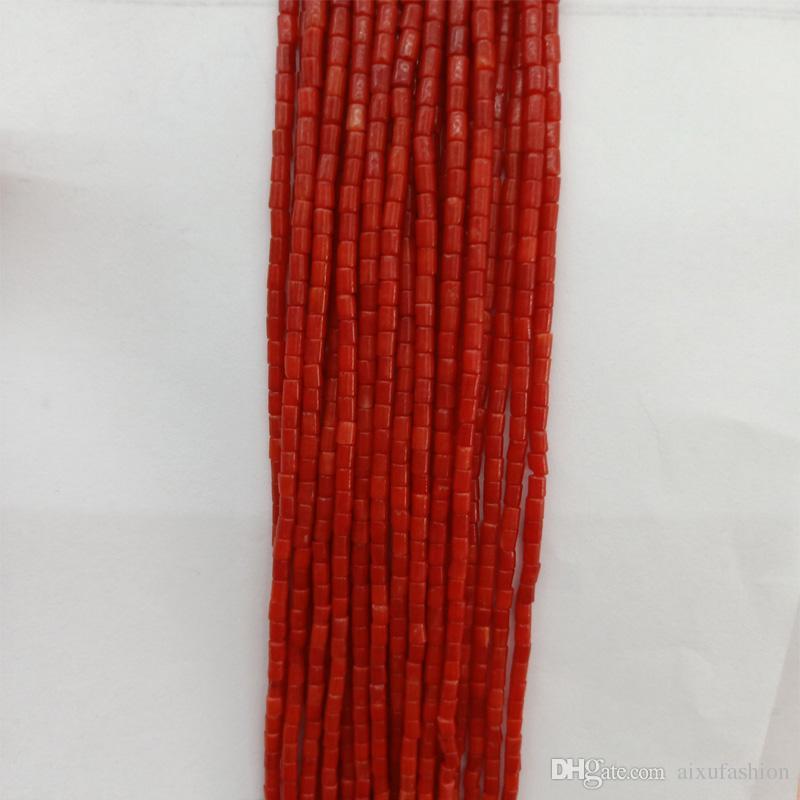 2x4 ملليمتر الطبيعية الأحمر / الوردي / الأبيض المرجان الخرز أنبوب شكل فضفاض المرجان الخرز للأزياء سوار قلادة مجوهرات جعل diy 16