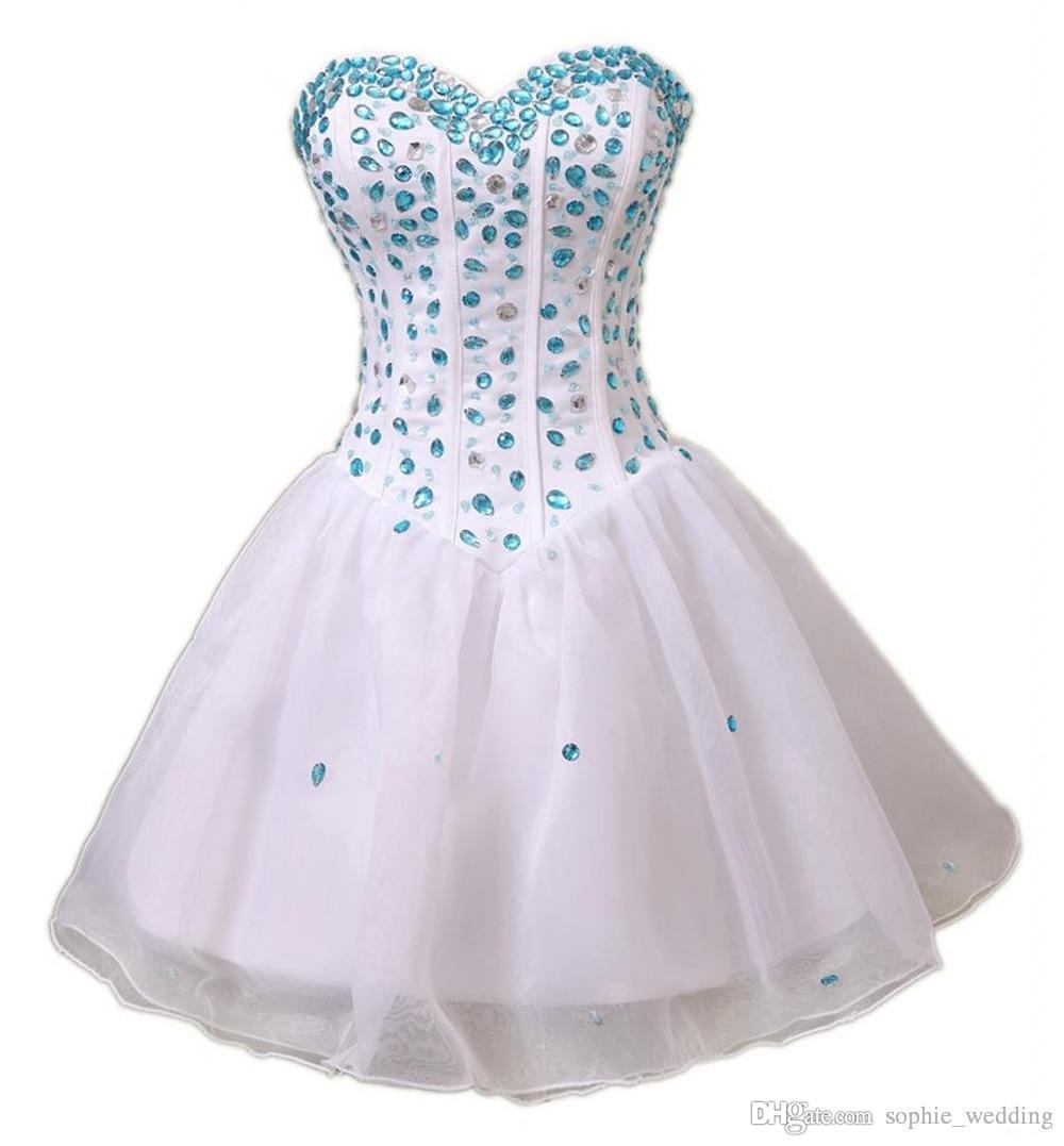 2018 Cute Fashion Crystal Beaded Sweetheart Short Cocktail Dress Sleeveless A Line Tulle Homecoming Prom Party Gowns Dresses