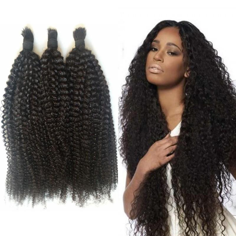 4a 4b Afro Kinky Curly Human Hair Bulk No Weft 3 Bundles Indian Hair Bulk for Black Women FDshine