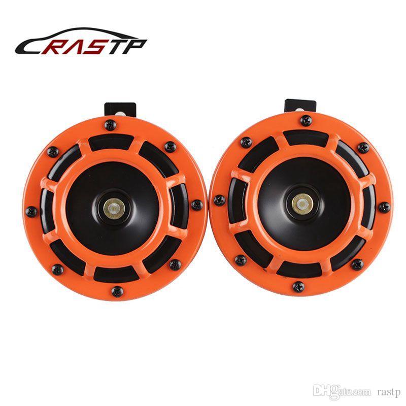 RASTP - 새로운 디자인 2 PCS 오토바이와 자동차에 대한 110DB 오렌지 12V 슈퍼 시끄러운 소형 전기 폭발 톤 에어 혼 키트 RS-BOV014