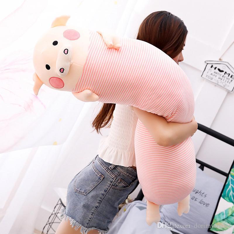 Jolie tirelire tenue dormir oreiller poupée rose cochon en peluche jouet poupée pour cadeau de fille décoration de mariage 43 pouces 110 cm DY50507